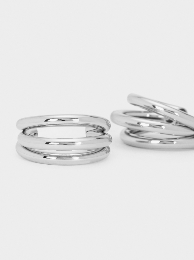 Hoop Fever Medium Hoop Earrings, Silver, hi-res