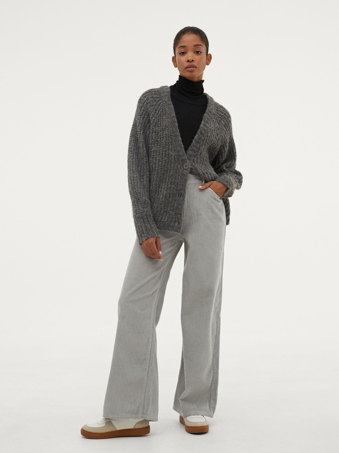 100% Cotton Straight Pants, Grey, hi-res