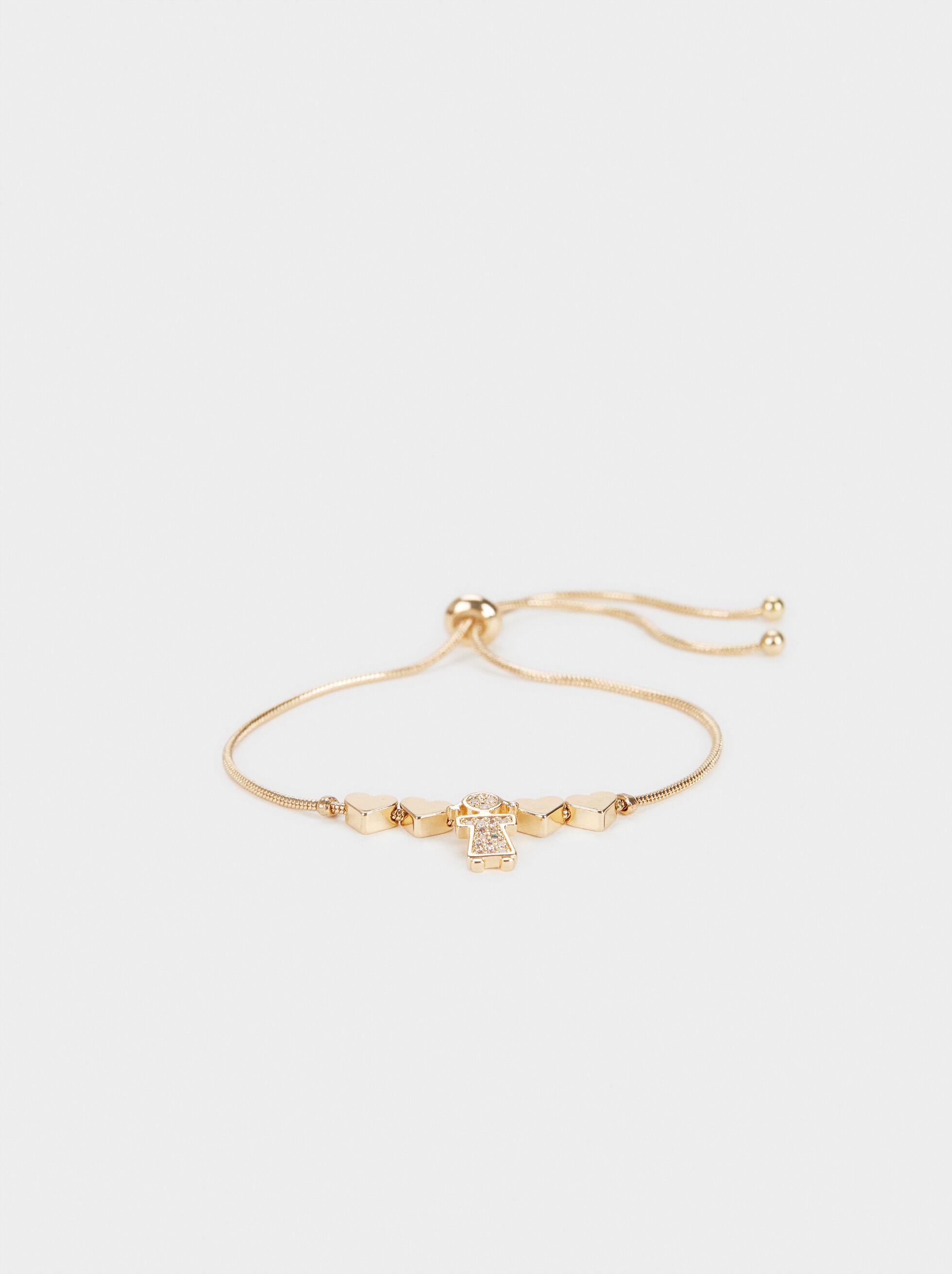 Girl'S Adjustable Heart Bracelet, Golden, hi-res