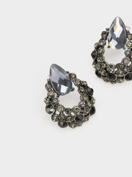 Star Dust Short Earrings With Rhinestones, Black, hi-res