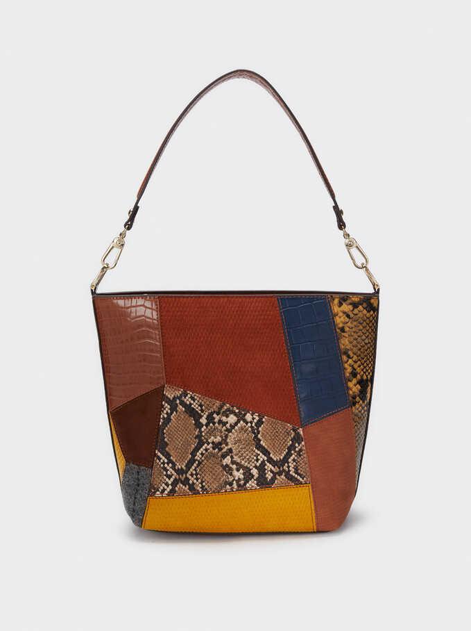 Patchwork Design Shoulder Bag, Camel, hi-res