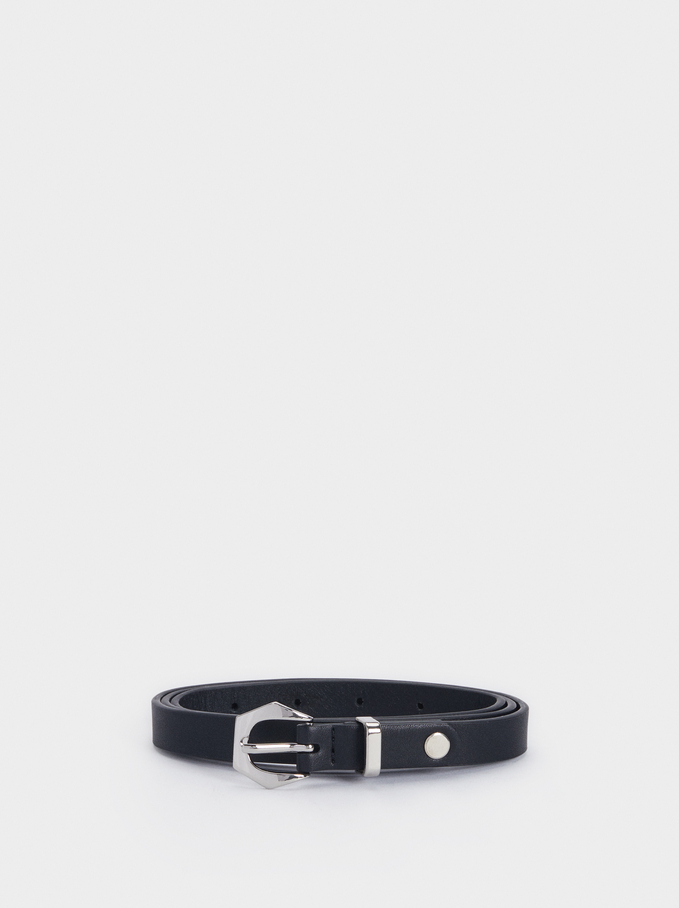 Narrow Belt With Buckle, Black, hi-res