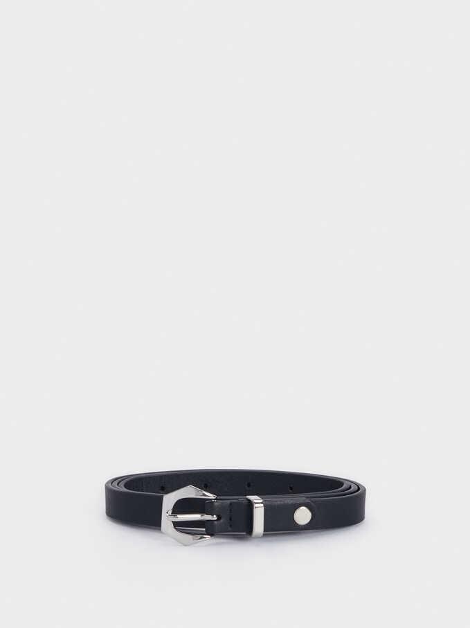 Narrow Belt With Buckle, Black, hi-res