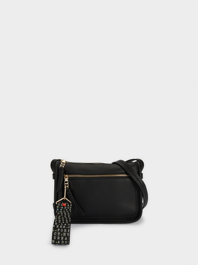 Crossbody Bag With Pendant, Black, hi-res