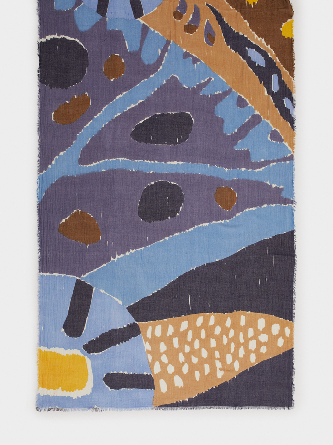 Multicoloured Print Modal Scarf, Blue, hi-res