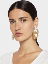 Long Earrings With Shell Clip Buckle, Golden, hi-res