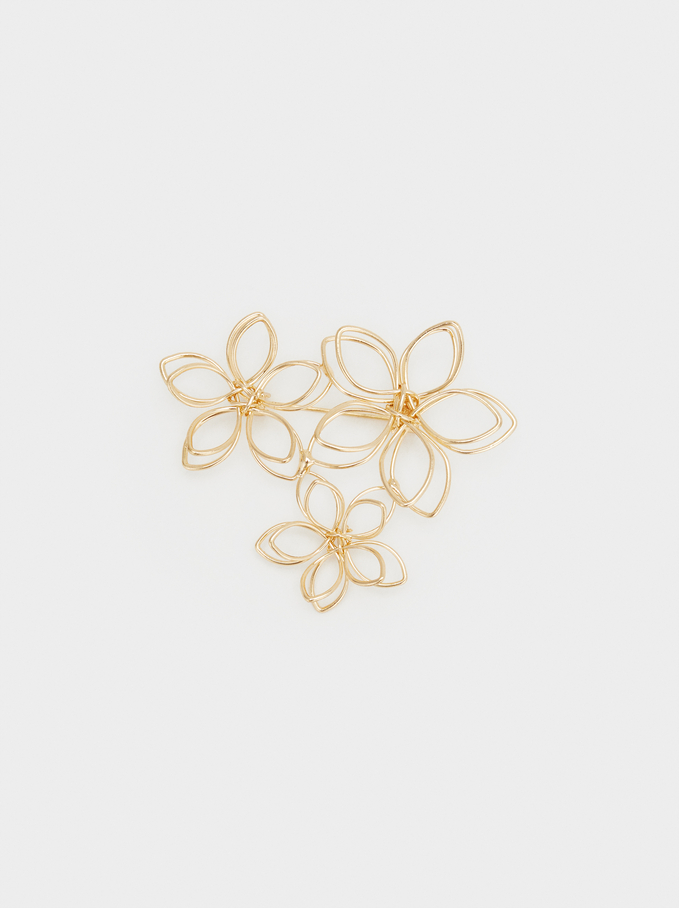 Set Of Flower Brooches, Golden, hi-res