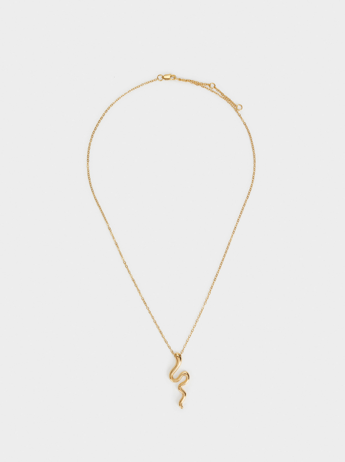 Short Stainless Steel Necklace With Snake, Golden, hi-res
