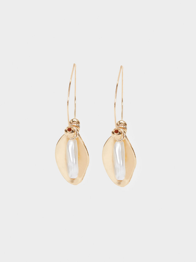 Hoop Earrings With Faux Pearl, Golden, hi-res