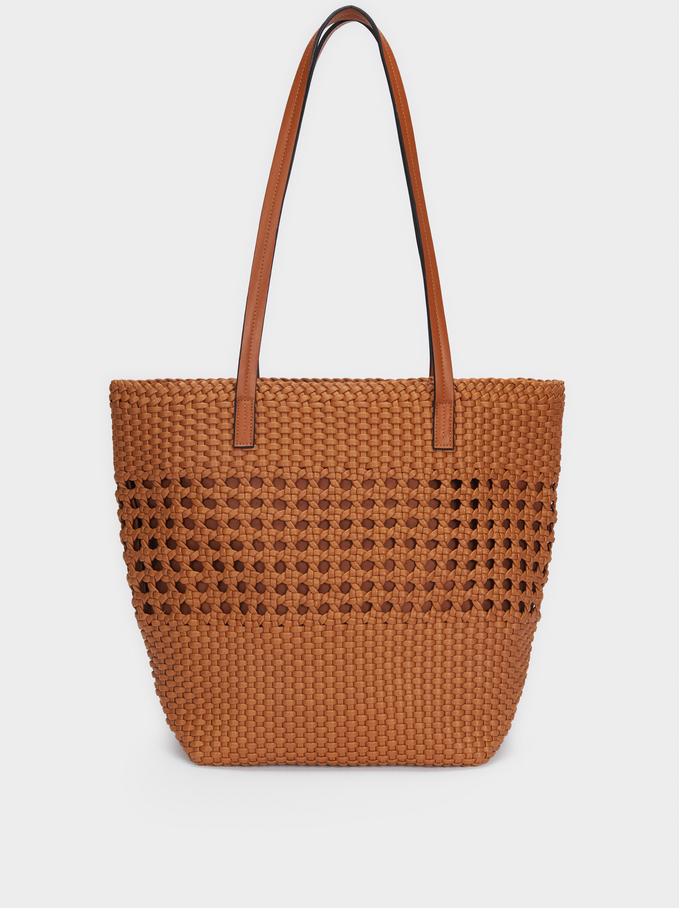 Braided Tote Bag, Camel, hi-res