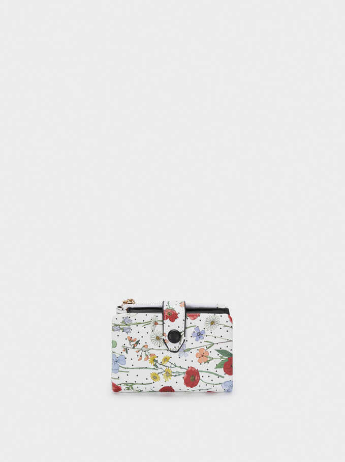 Compact Floral Print Wallet, Red, hi-res