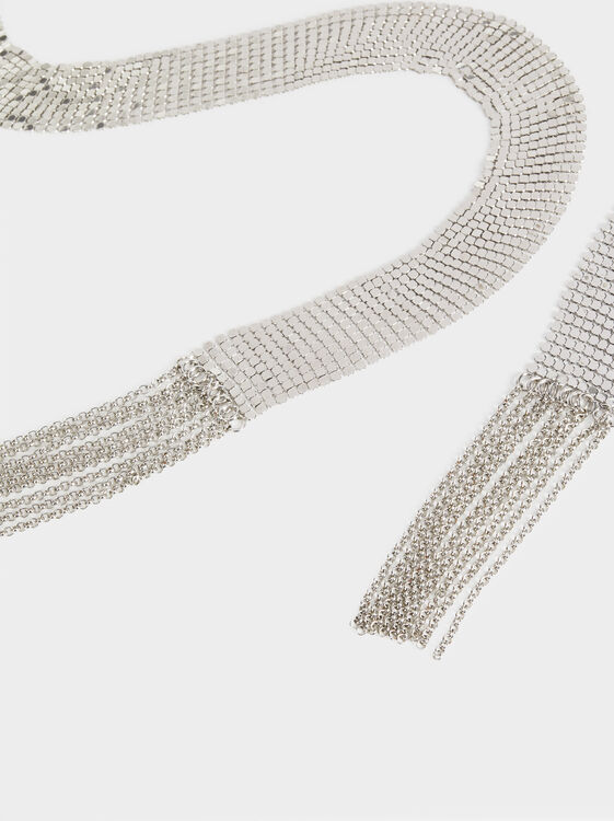 Metallic Evening Belt, Silver, hi-res