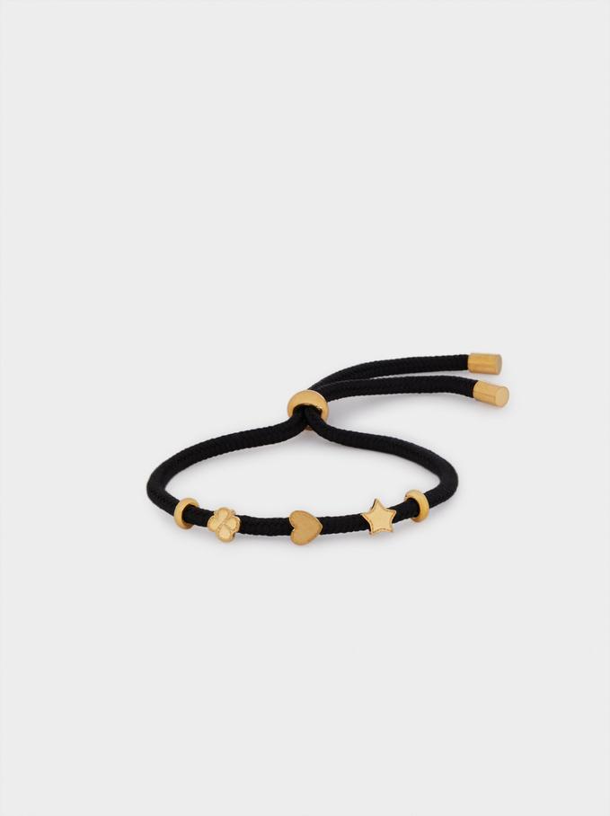 Adjustable Stainless Steel Bracelet With Charms, Black, hi-res