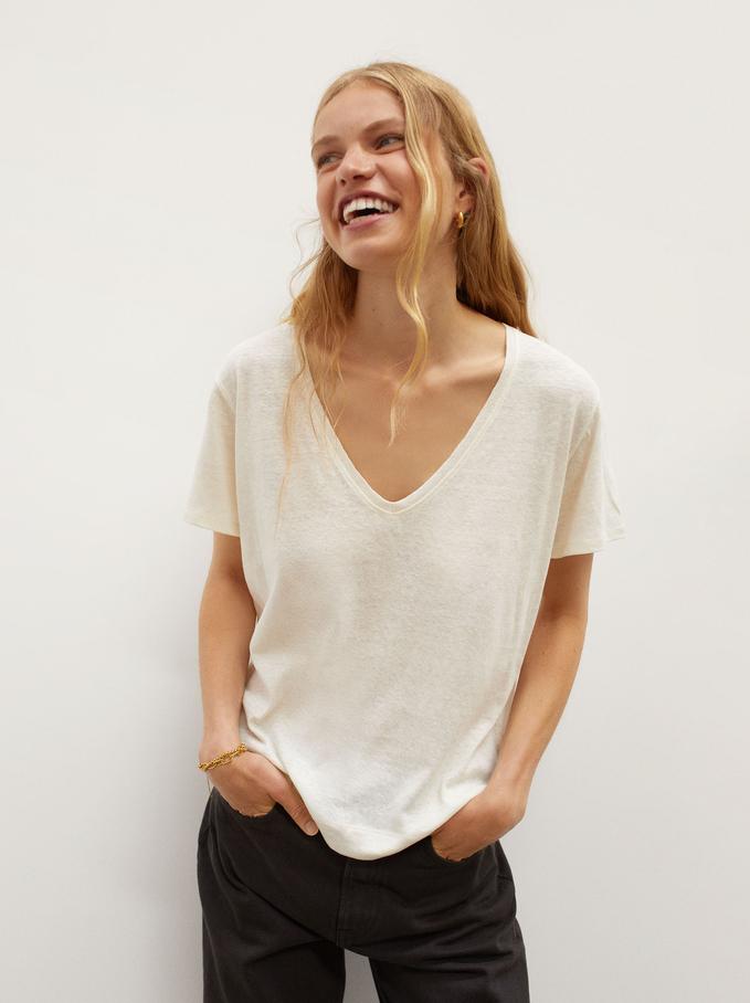 Linen V-Neck T-Shirt, Beige, hi-res