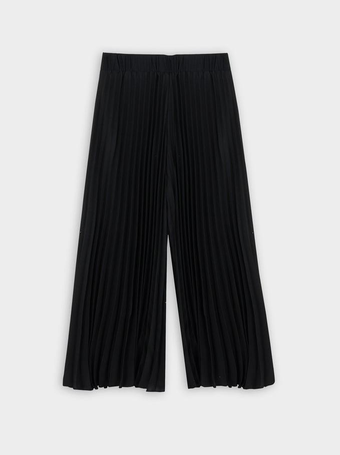Pantalón Ancho Plisado, Negro, hi-res