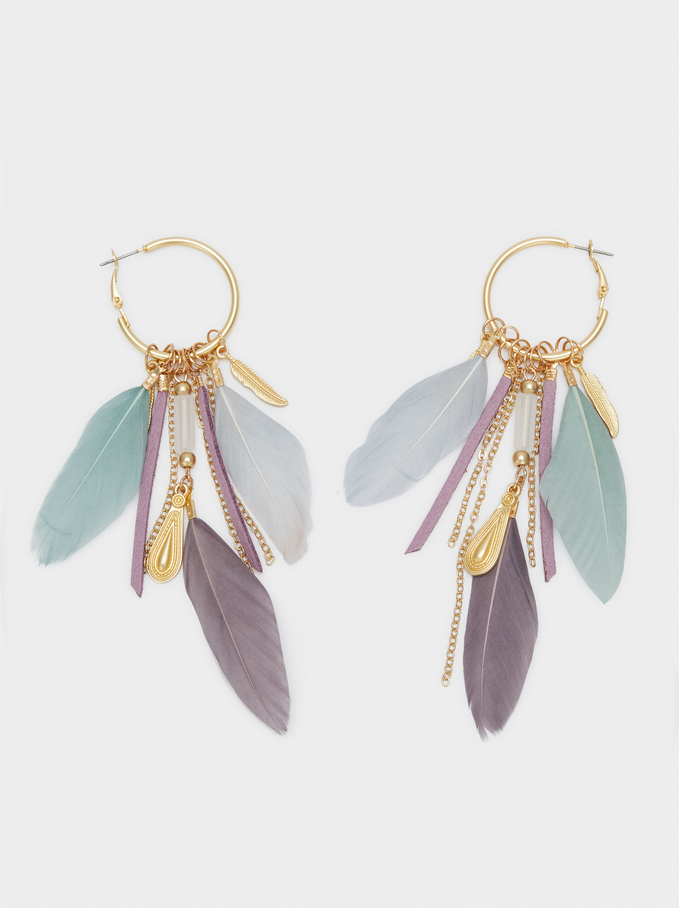 Watercolor Extra-Long Earrings With Feathers, Multicolor, hi-res