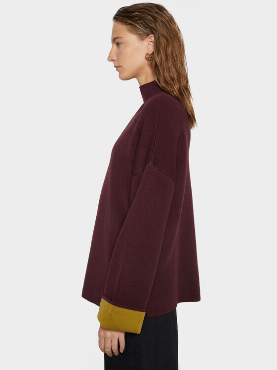 Knit Sweater With Contrast Cuffs, Bordeaux, hi-res