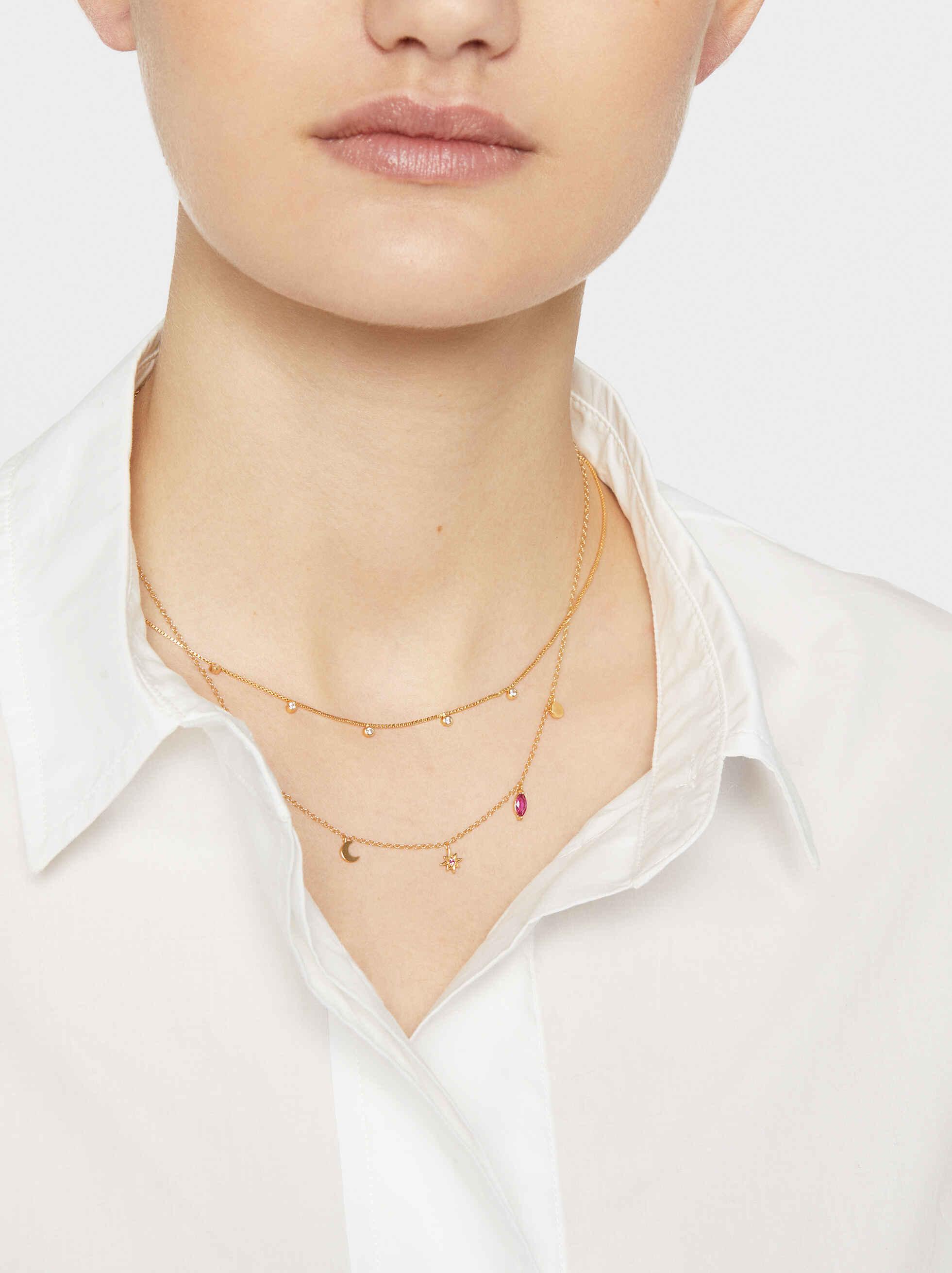Short 925 Silver Necklace With Rhinestones, Golden, hi-res