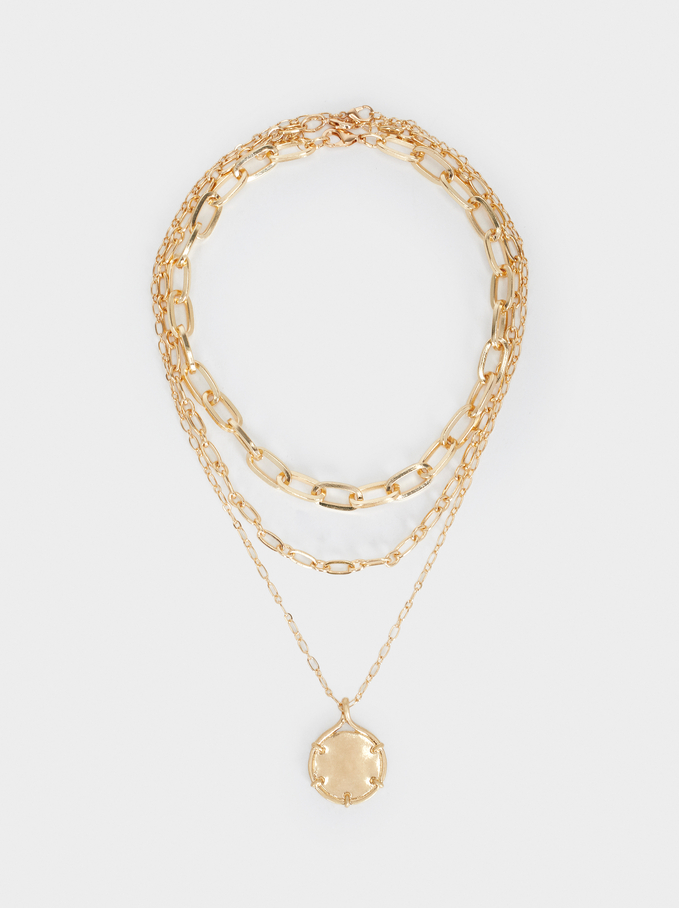 Chain Necklace Set, Golden, hi-res