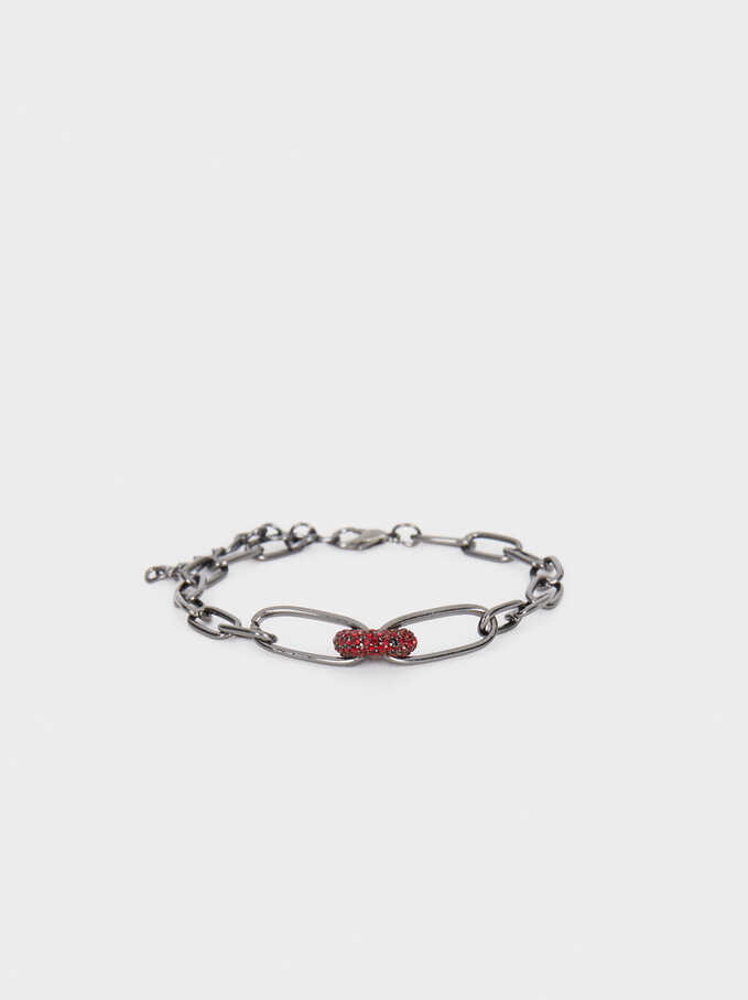 Chain Bracelet With Crystals, Bordeaux, hi-res