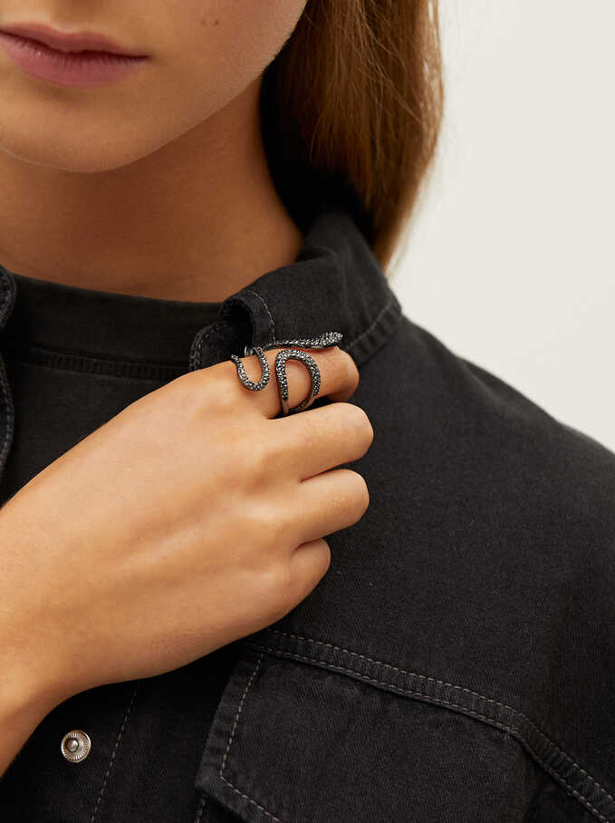 Snake Ring, Black, hi-res