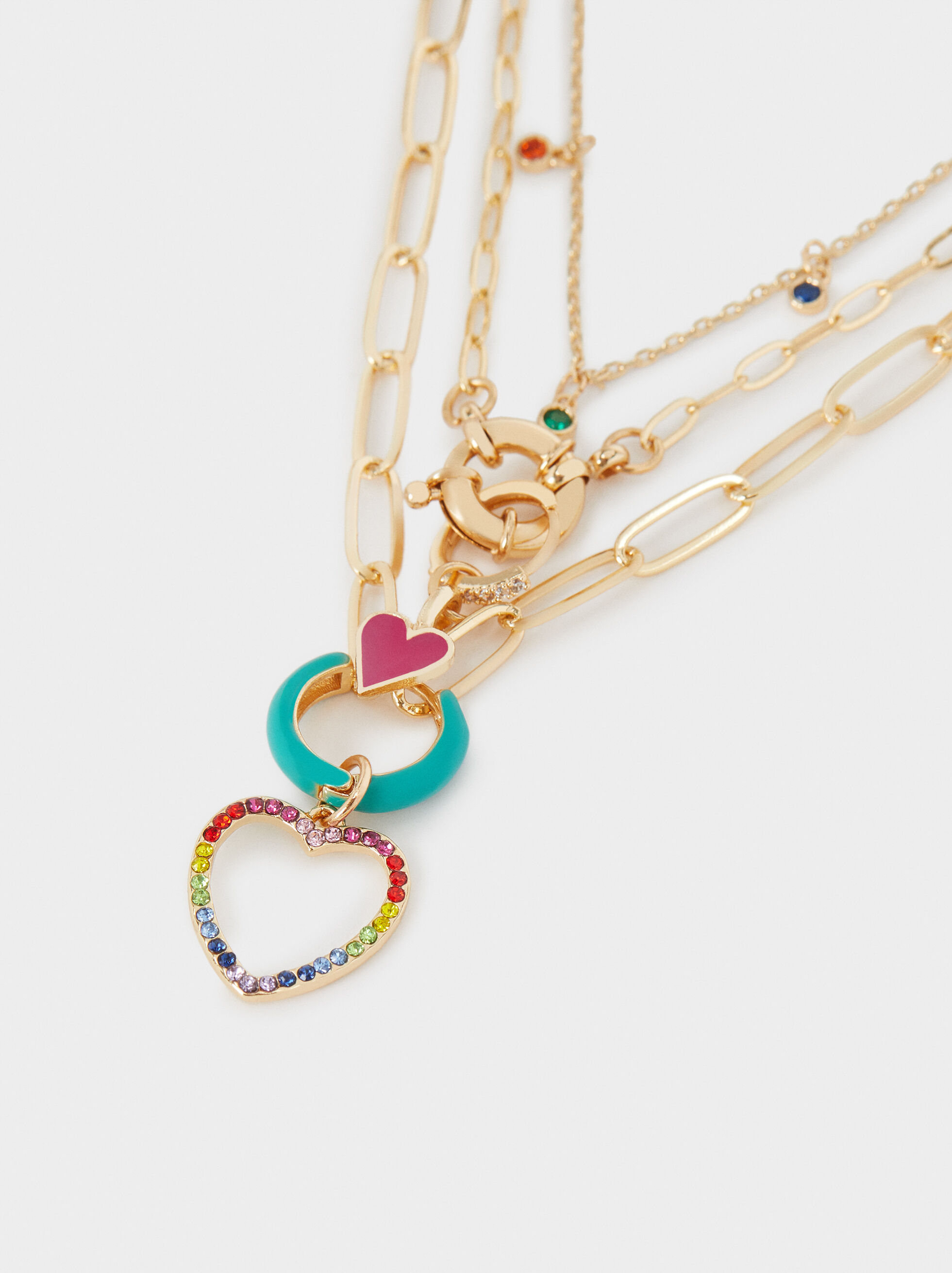 Short Golden Chain Necklace With Heart, Golden, hi-res