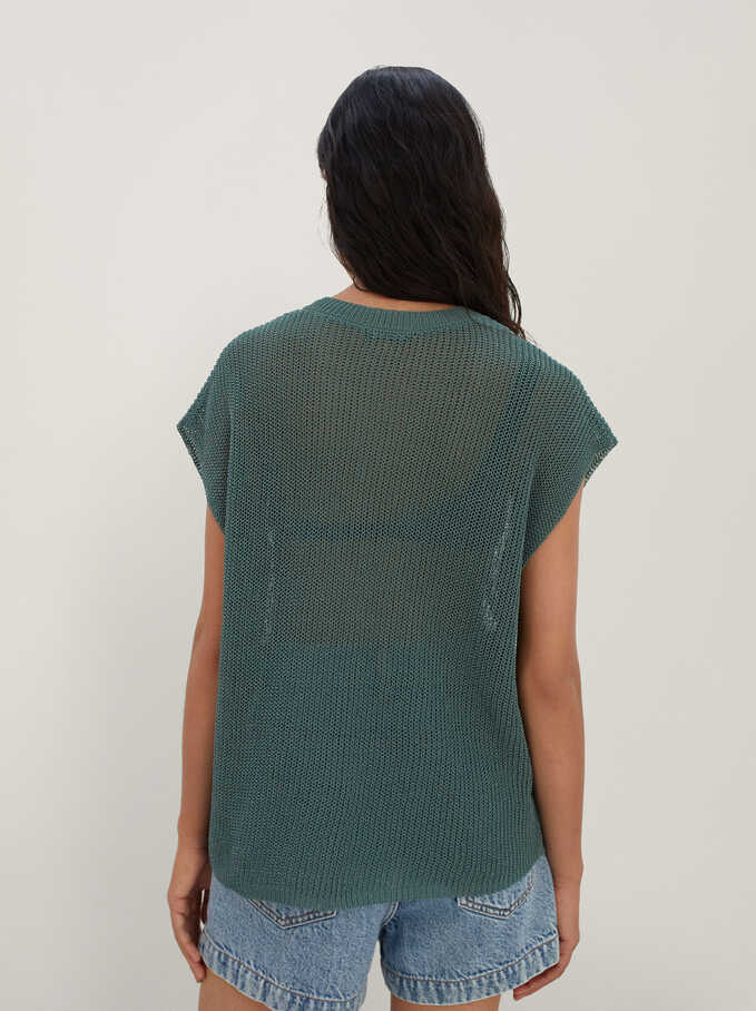 Knitted V-Neck Sweater, Green, hi-res