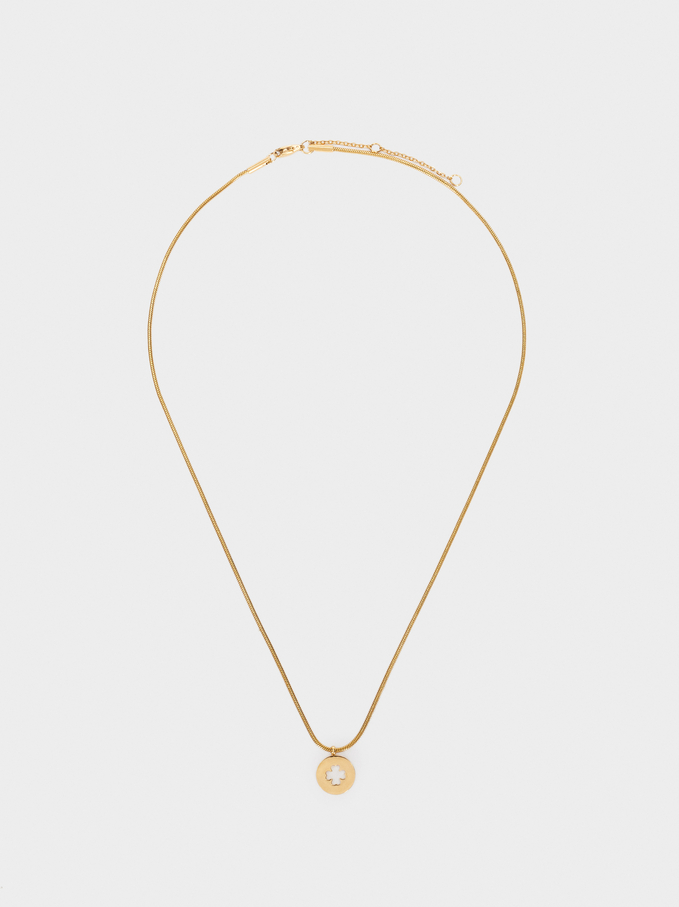 Short Stainless Steel Necklace With Golden Clover Leaf, Golden, hi-res