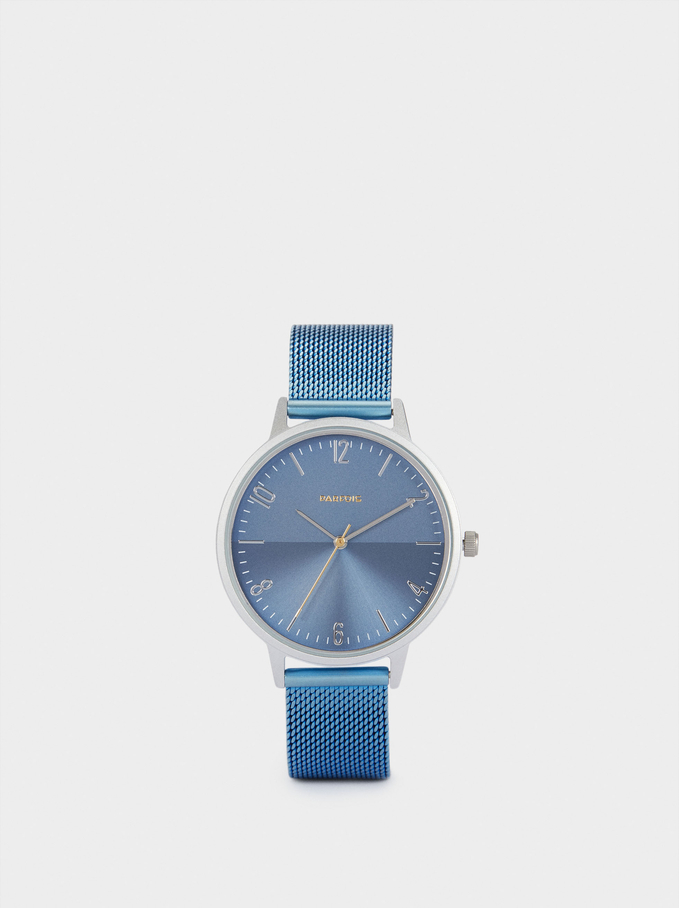 Watch With Metallic Strap, Blue, hi-res