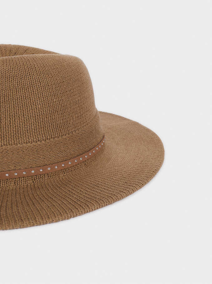 Knit Hat With Studded Band, Khaki, hi-res