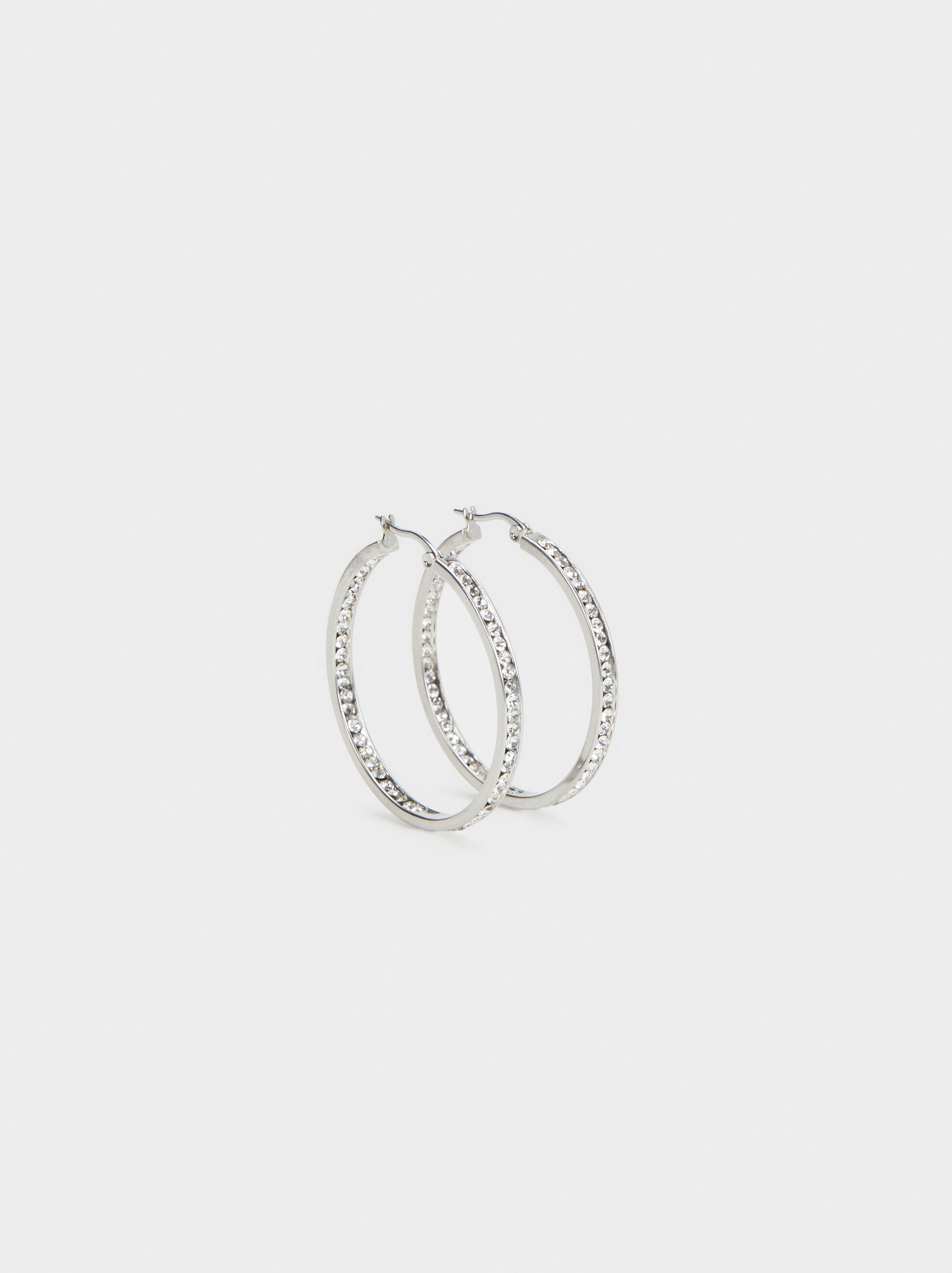 Small Steel Hoop Earrings With Rhinestones, Silver, hi-res