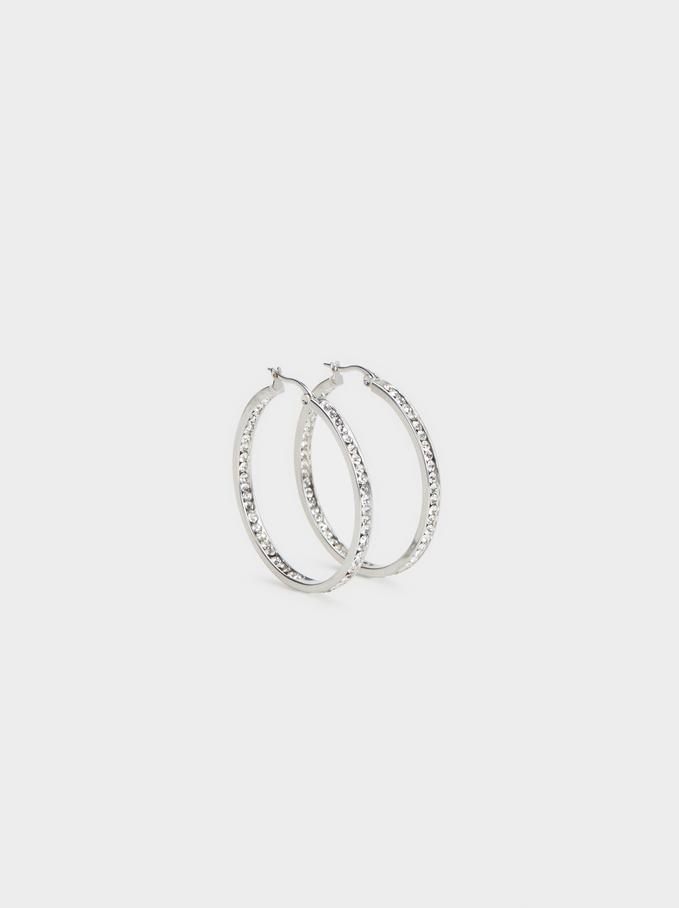 Small Steel Hoop Earrings With Rhinestones, Silver, hi-res
