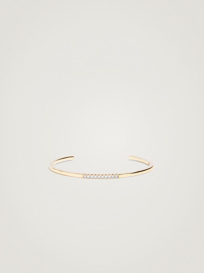 Double Bracelet With Zirconia, Golden, hi-res
