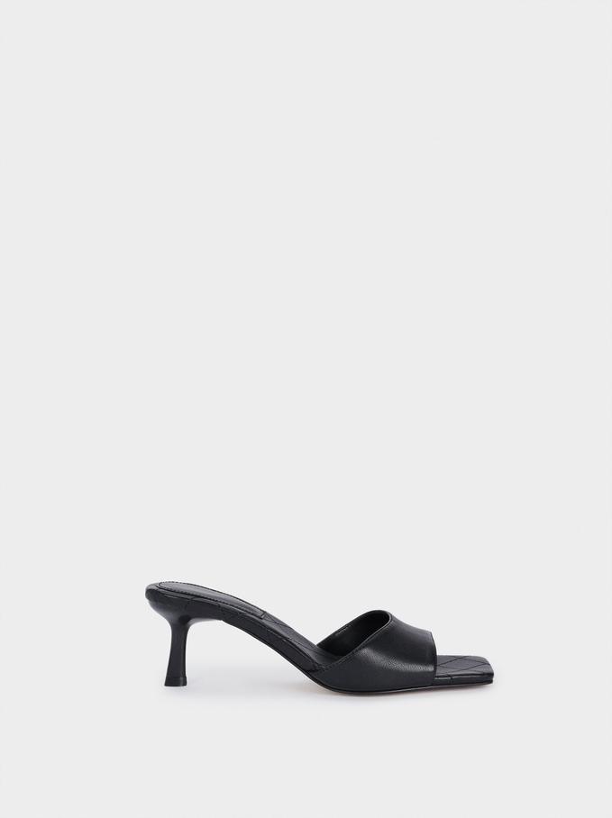 Mid-Heel Square Toe Sandals, Black, hi-res