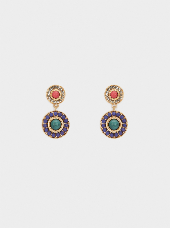 Earrings With Stones And Crystals, Multicolor, hi-res