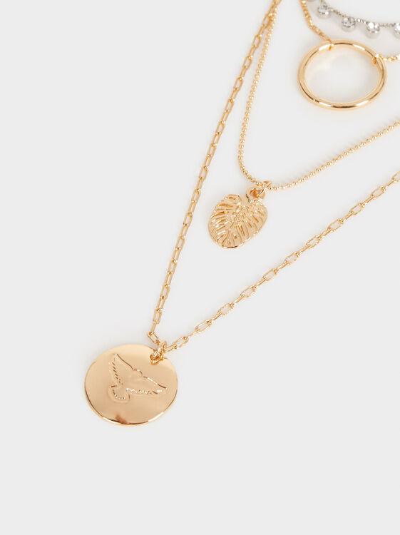 Hoop Fever Set Of Necklaces With Pendants, Golden, hi-res