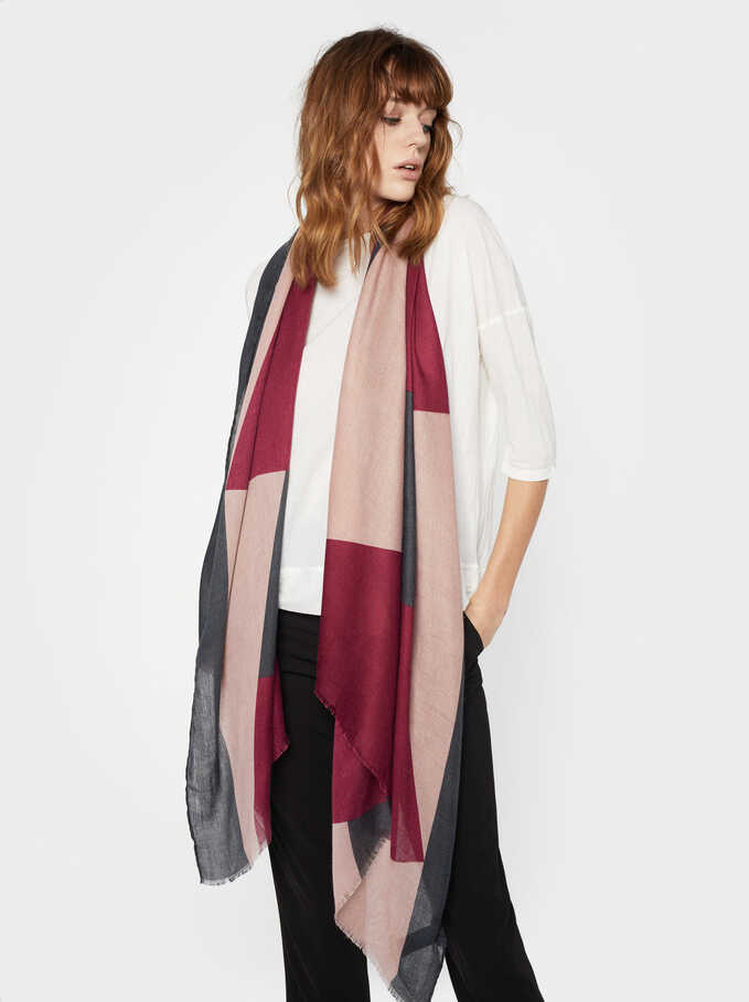 Frost Printed Scarf, Bordeaux, hi-res
