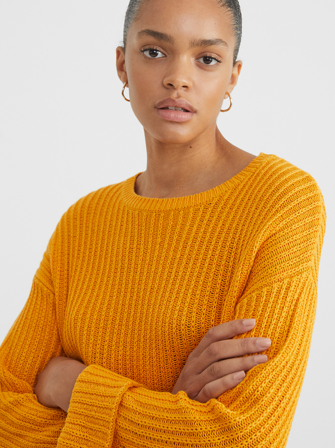 Knitted Sweater, Orange, hi-res