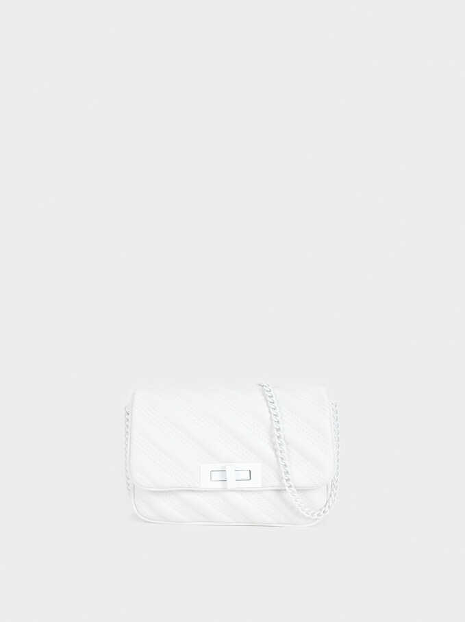 Crossbody Bag With Chain Strap, White, hi-res