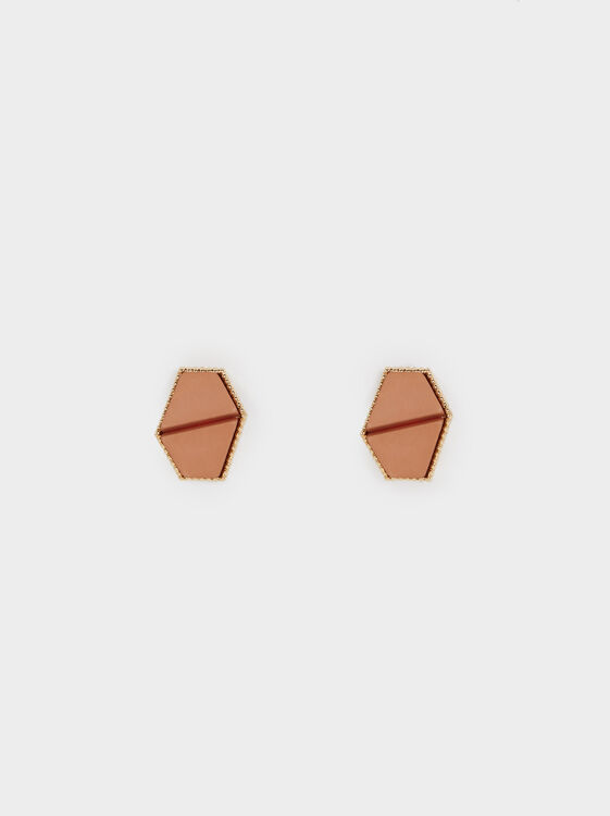 Land Geometric Studs, Pink, hi-res