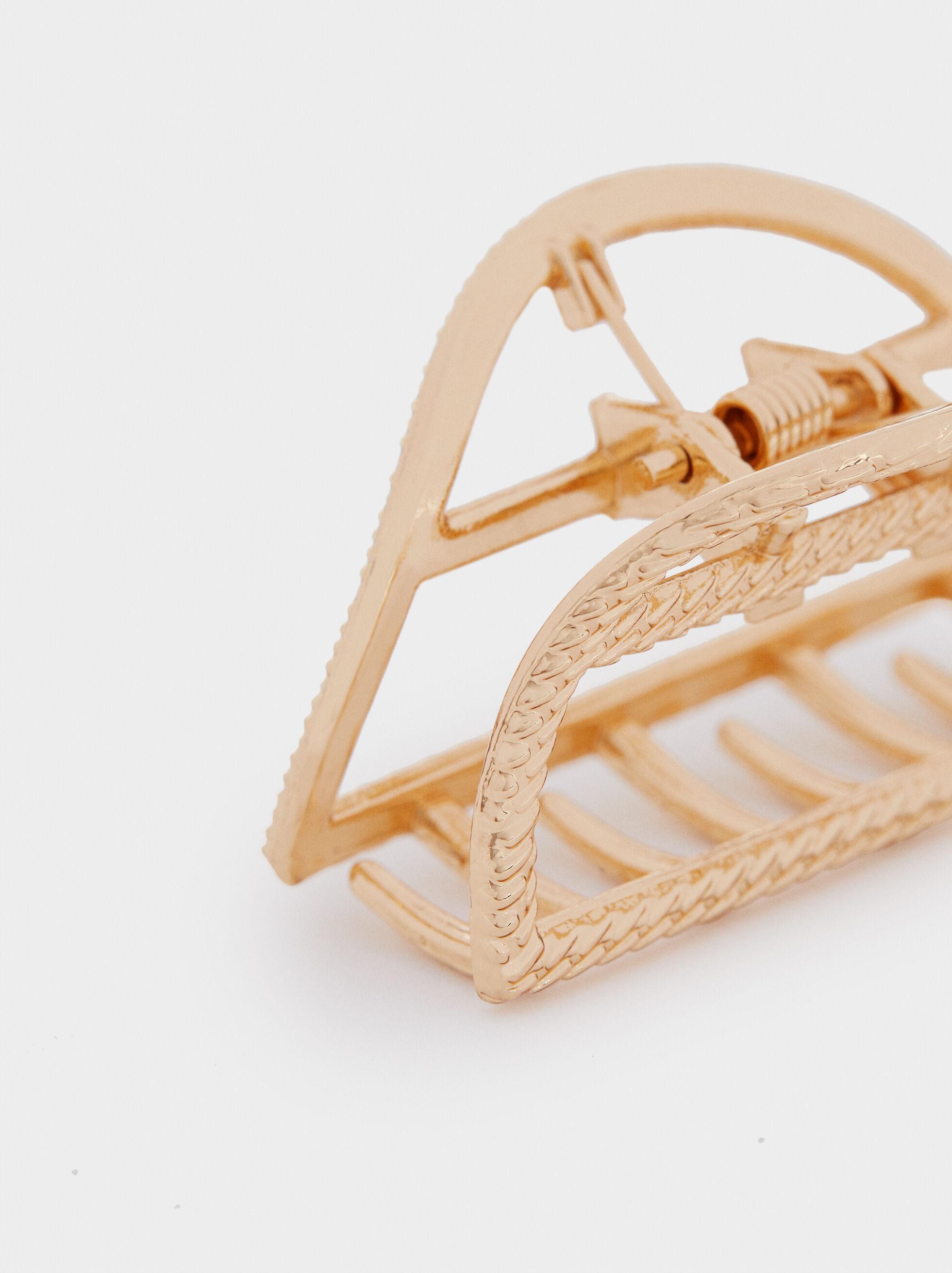 Fermaglio Per Capelli Metallico Dorato, D'oro, hi-res