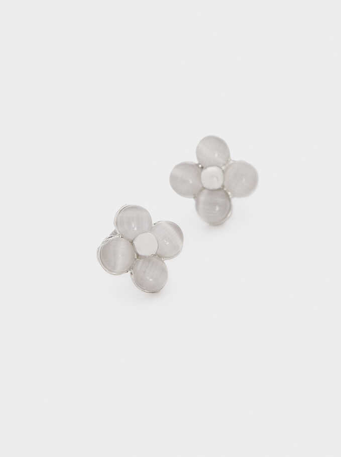 Short Flower Earrings, Silver, hi-res