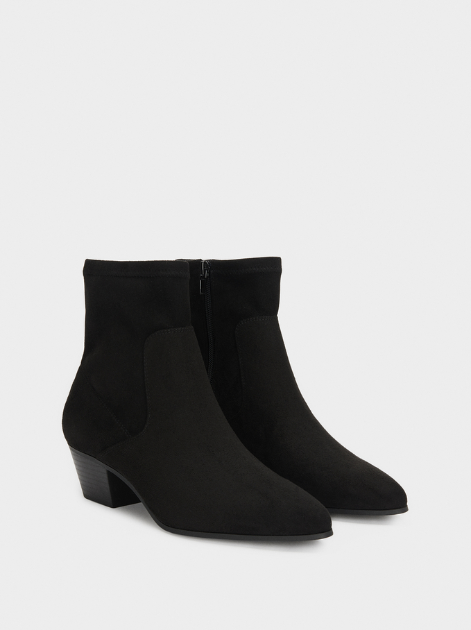 Heeled Stretch Ankle Boots, Black, hi-res
