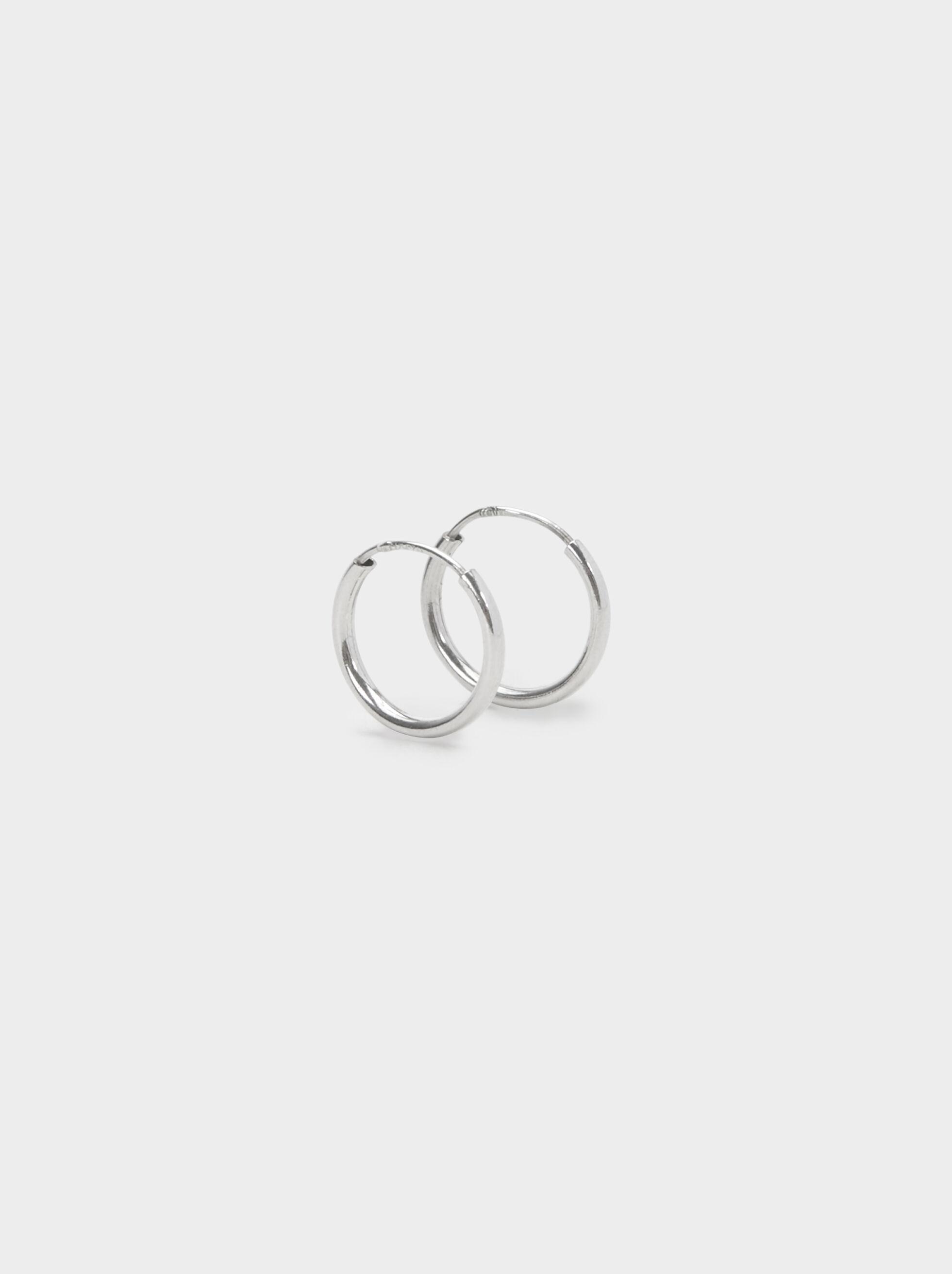 925 Sterling Silver Short Hoop-Earrings, Silver, hi-res