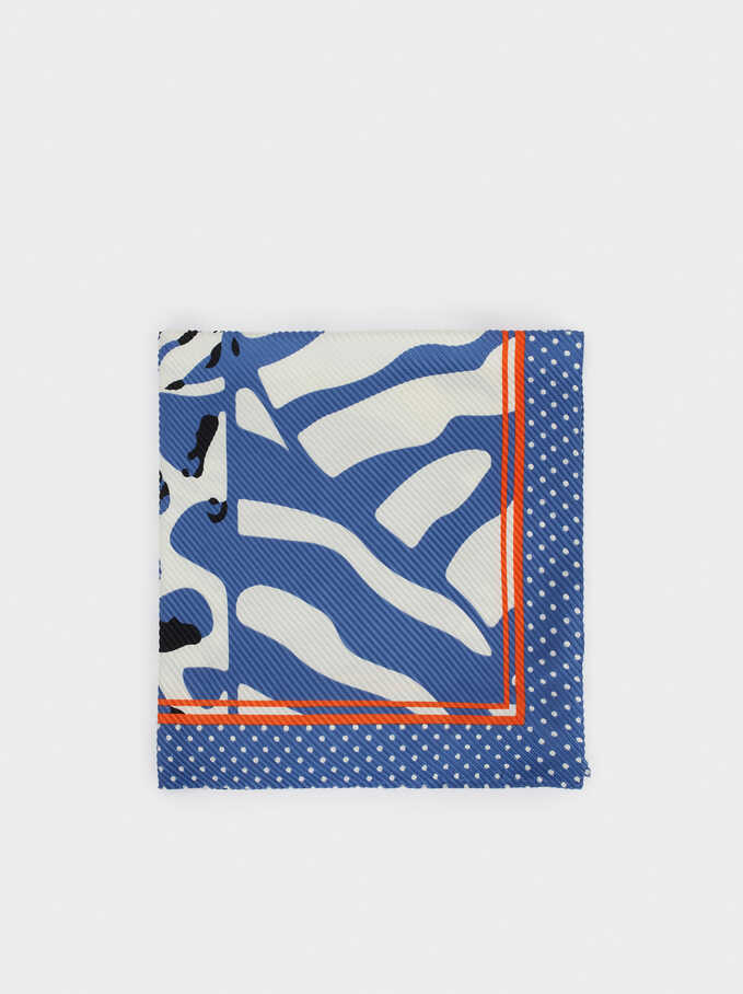 Animal Print Square Scarf, Blue, hi-res