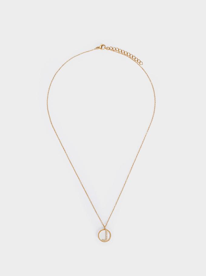 Short Steel Necklace With Letter J, Golden, hi-res