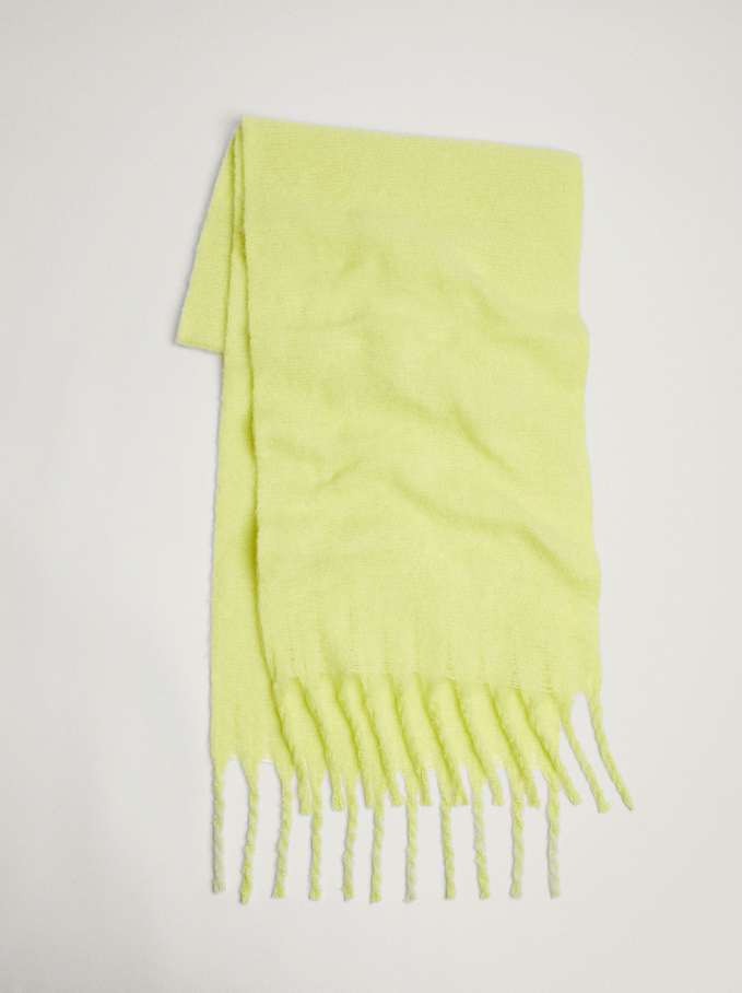 Blanket Scarf With Fringing, Yellow, hi-res