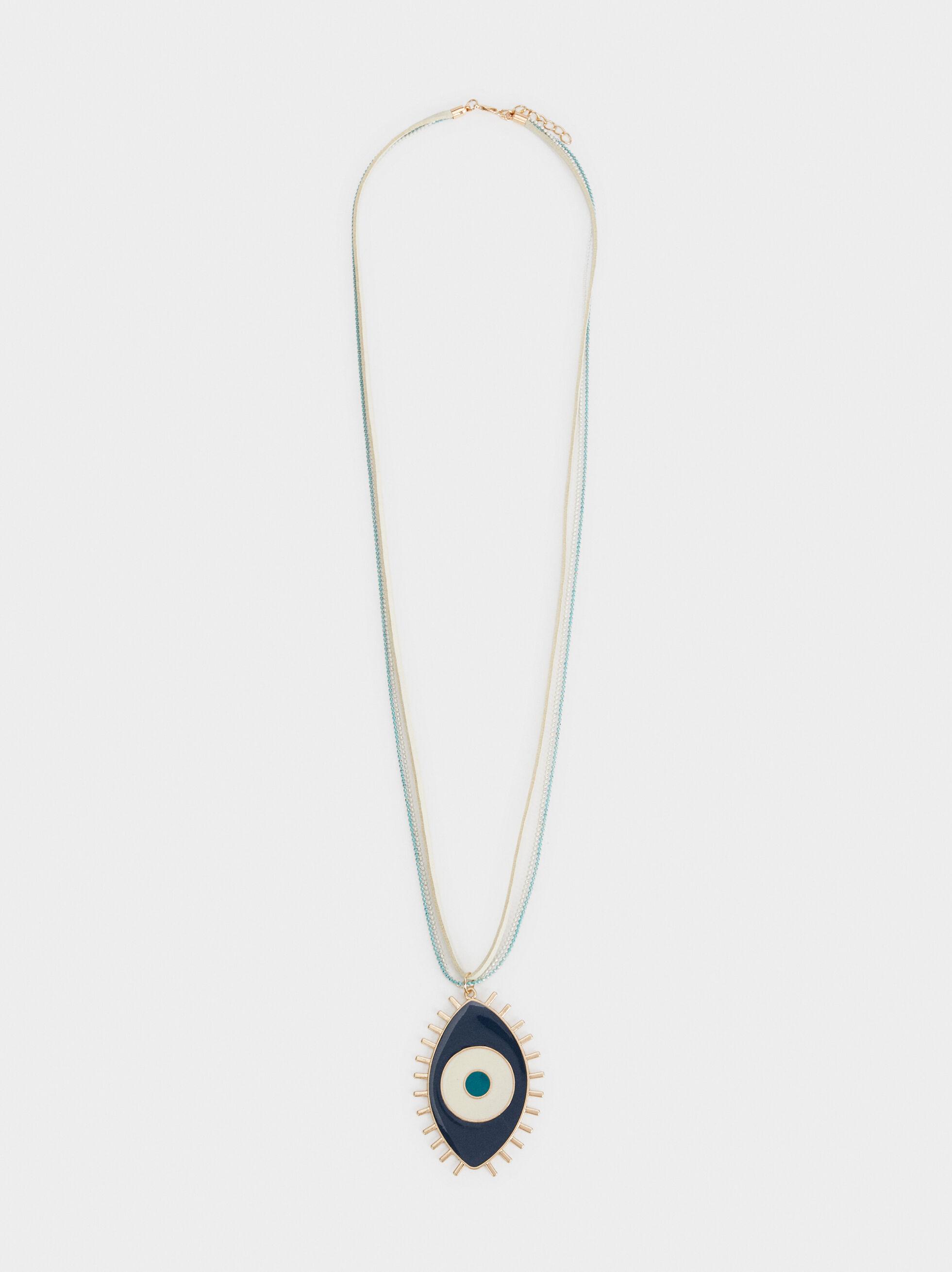 Long Necklace With Eye Motif, Multicolor, hi-res