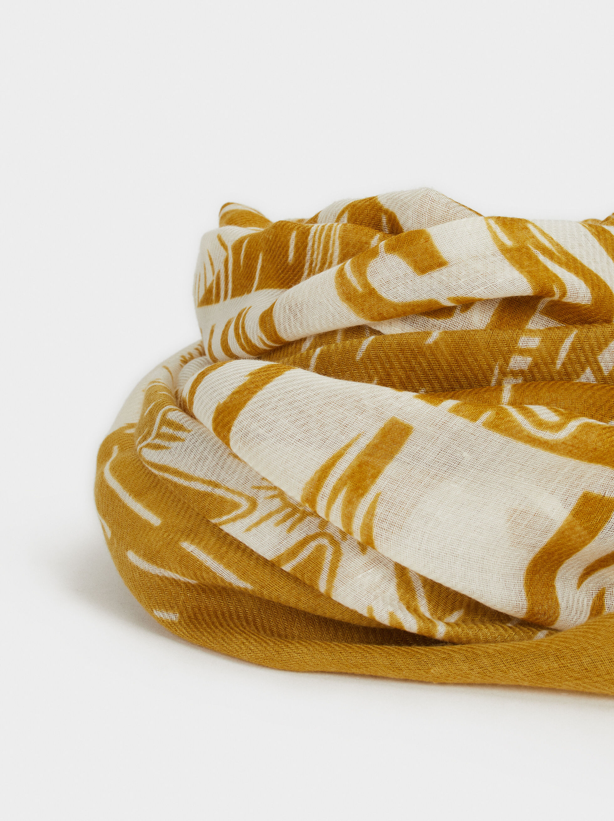 Printed Scarf, Yellow, hi-res
