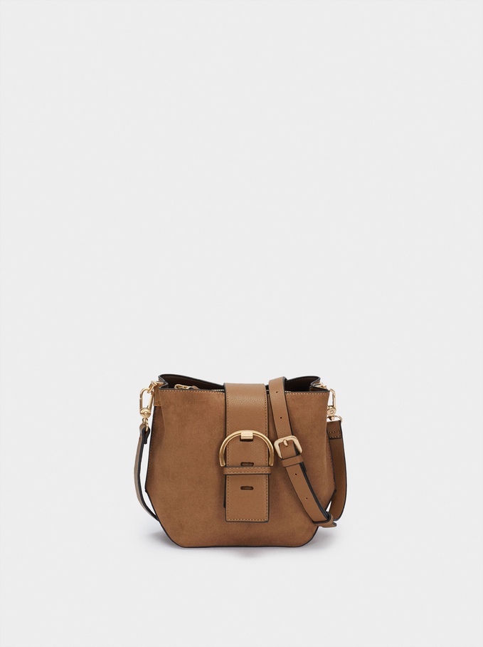 Textured Suede Crossbody Bag, Camel, hi-res